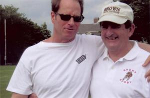 Kent swig with Brown Rugby coach