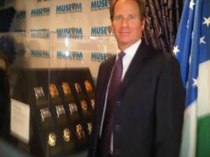 Kent M. Swig at the New York City Police Museum shield of fallen soldiers display.