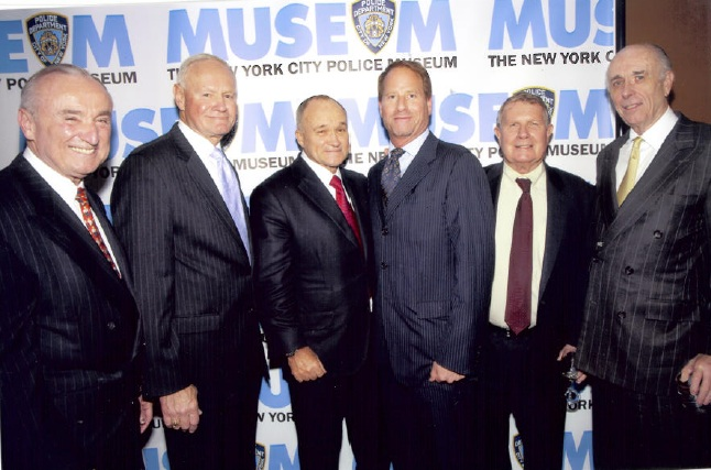 Kent Swig with the current and 4 former Police Commissioners of New York City