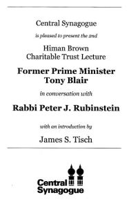 Former Prime Minister Tony blair in conversation with Rabbi Peter J.Rubinstein