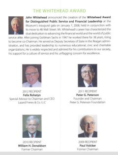 The whitehead award for distinguished public service and financial Leadership