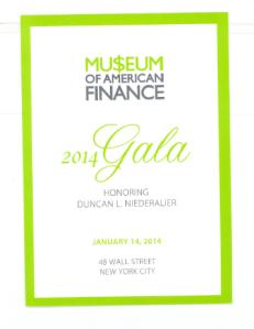 Museum of Finance Gala Dinner Invitation