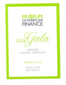 Museum of Finance Gala Dinner Invitation