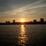 A magnificent sunset along the Hudson River.