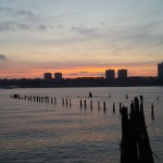 Old pilings from a previous pier along the Hudson River.