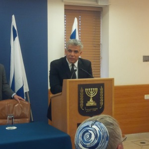 Israel's Minister of Finance, Yair Lapid, addressing the Israel Bond delegation.