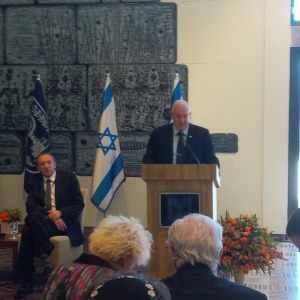 Israel's President, Reuven Rivlin, addressing the Israel Bond delegation.