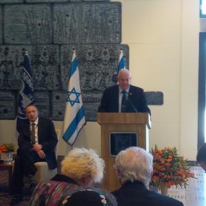 Israel's President, Reuven Rivlin, addressing the Israel Bond delegation.