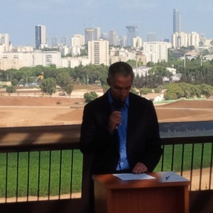 Ariel Sharon's son, Gilad Sharon, addressing  the Israel Bond delegation as he spoke of his father's passion for the State of Israel which included the creation of this 2000 acre park land and transforming the land into beauty from it prior condition as a garbage dump.