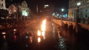 Fire Water is a celebration of the Providence River that occurs on selected weekends in downtown Providence where large containers of firewood are lit on fire over the course of a Saturday night setting the river aglow.