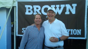 Kent Swig'83 with John O'Brien' 82 outside the Sports Foundation tent before the Brown-Harvard football game.