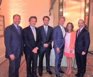 Brown Harris Stevens Meeting. From left to right: Kent Swig, Brown Harris Stevens; Will Zeckendorf, Brown Harris Steven; Ben Stein, Brown Harris Stevens;  Rick Moeser, Christie's Great Estates; Ava Van de Water, Brown Harris Stevens; Dan Conn, Christie's Great Estates.