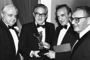 Israel Bonds Holocaust Remembrance Award Dinner.  From left to right: Meir Rosenne, Henry Kissinger, Elie Wiesel and Sigmund Strochlitz.